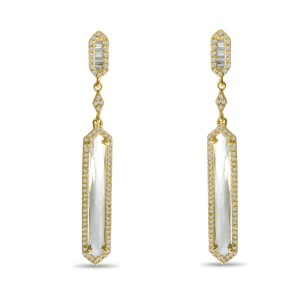 14k Yellow Gold Fancy White Topaz and Diamond Long Semi Precious Dangle earrings