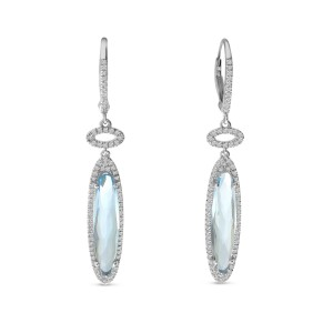 14K White Gold Fancy Long Oval Blue Topaz Semi Precious Dangle Earrings