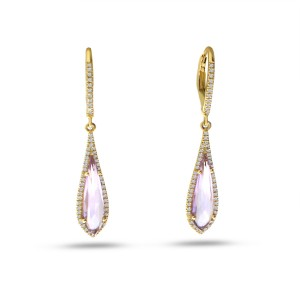 14K Yellow Gold Fancy Pink Amethyst and Diamond Semi Precious Dangle Earrings
