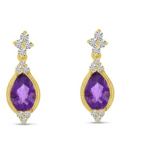 14K Yellow Gold Pear Amethyst and Diamond Semi Precious Earrings