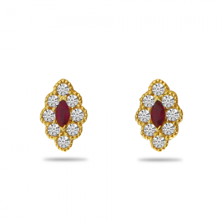 14K Yellow Gold Marquis Ruby and Diamond Beaded Earrings