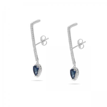 14K White Gold Diamond & Pear Sapphire Linear Earrings