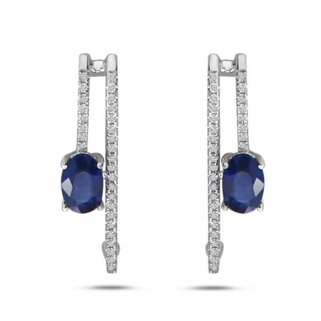 14K White Gold Diamond & Oval Sapphire Super Huggie Earrings