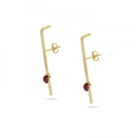 14K Yellow Gold Diamond & Oval Ruby Linear Earrings