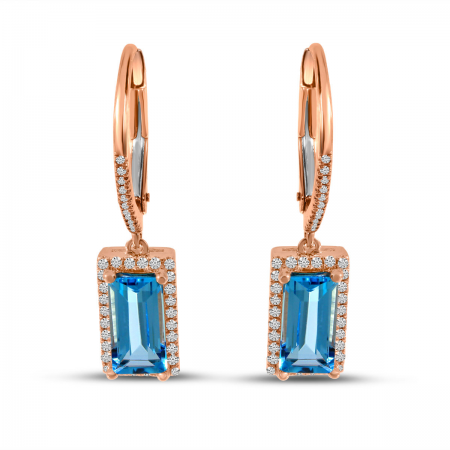 14K Rose Gold Emerald Cut Blue Topaz and Diamond Semi Precious Earrings