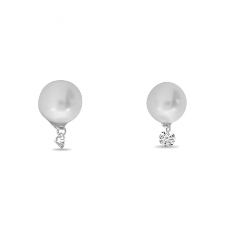 14K White Gold Dashing Diamond Pearl Earrings
