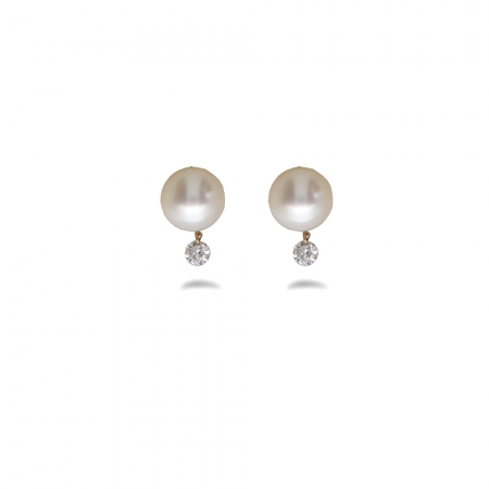 14K Yellow Gold Dashing Diamond Pearl Earrings