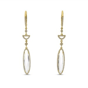 14K Yellow Gold Fancy Oval White Topaz and Diamond Long Dangle Earrings
