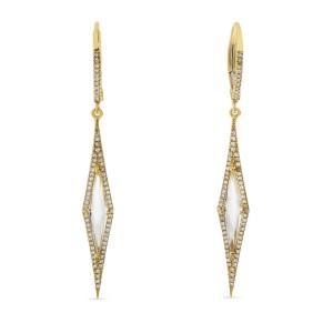 14K Yellow Gold Fancy Diamond Shape White Topaz and Diamond Long Dangle Earrings