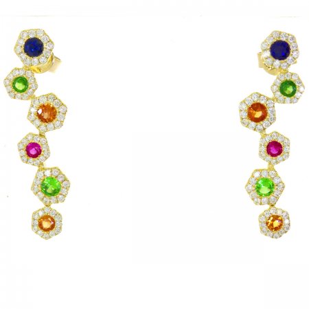 14K Yellow Gold Hexagon Zigzag Rainbow Sapphire and Diamond Earrings