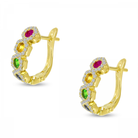 14K Yellow Gold Rainbow Sapphire Hexagon Earrings
