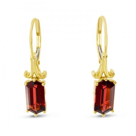 14K Yellow Gold Hexagon Garnet Semi Precious Earrings