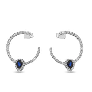 14K White Gold Pear Sapphire and Diamond Front Hoop Precious Earrings