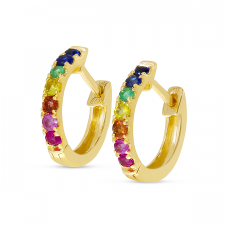 14K Yellow Gold Rainbow Sapphire Small Huggie Earrings