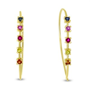 14K Yellow Gold Genuine Rainbow Sapphire Wire Earrings