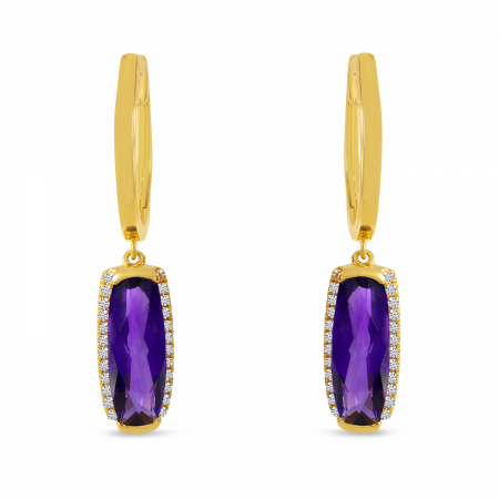 14K Yellow Gold Baguette Amethyst and Diamond Semi Precious Hoop Earring