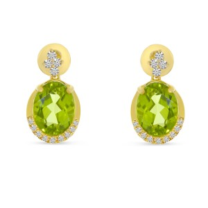 14K Yellow Gold Oval Peridot and Diamond Semi Precious Earrings