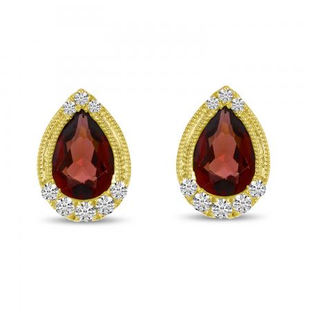 14K Yellow Gold Pear Garnet and Diamond Earrings