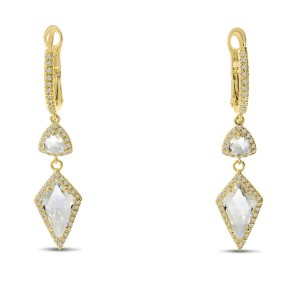 14K Yellow Gold Fancy cut White Topaz drop and Diamond Semi Precious Dangle Earrings