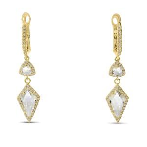 14K Yellow Gold Fancy cut White Topaz drop and Diamond Semi Precious Dangle Earrings
