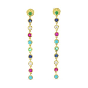 14K Yellow Gold Long Multi Bezel Sapphire, Emerald, Ruby and Turquoise with Diamond Drop Earrings