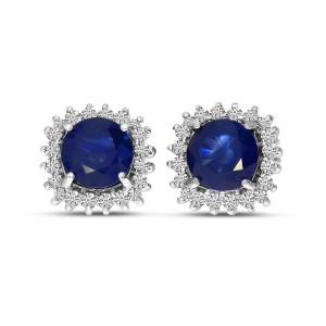 14K White Gold Round Sapphire and Diamond Halo Precious Earrings