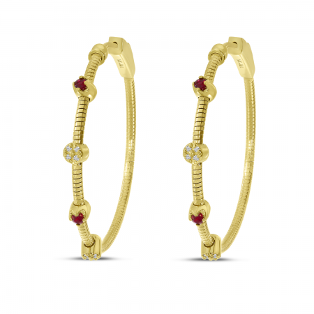 14K Yellow Gold Ruby and Diamond Flexible Hoops