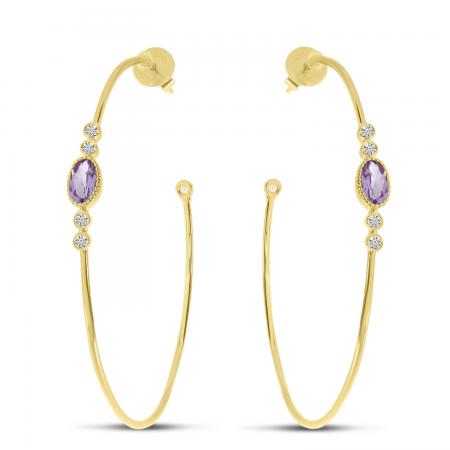 14K Yellow Gold Oval Amethyst Large Wire Hoop Earrings