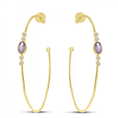 14K Yellow Gold Oval Amethyst Large Wire Hoop Earrings