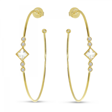 14K Yellow Gold Princess White Topaz Large Wire Hoop Earrings