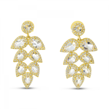 14K Yellow Gold White Topaz and Diamond Pear Tree Post Earrings