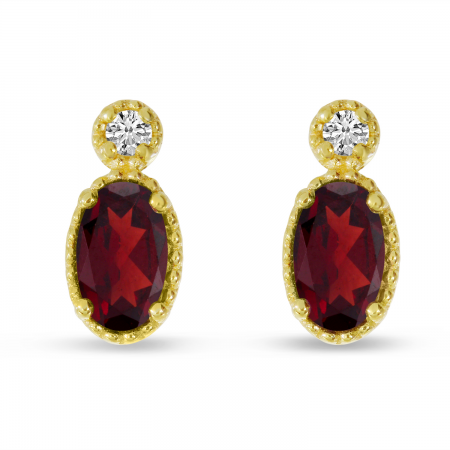 14K Yellow Gold Oval Garnet Millgrain Birthstone Earrings