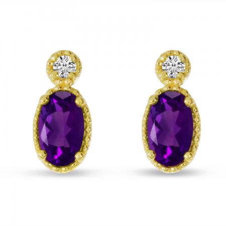 14K Yellow Gold Oval Amethyst Millgrain Birthstone Earrings