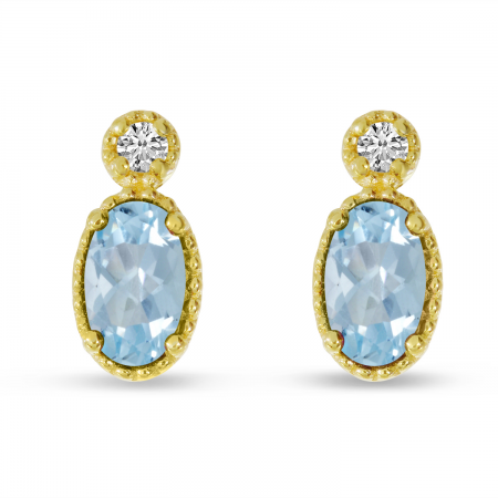 14K Yellow Gold Oval Aquamarine Millgrain Birthstone Earrings