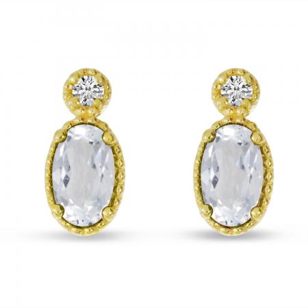 14K Yellow Gold Oval White Topaz Millgrain Birthstone Earrings