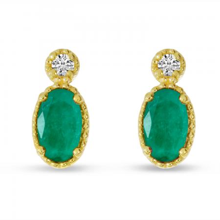 14K Yellow Gold Oval Emerald Millgrain Birthstone Earrings