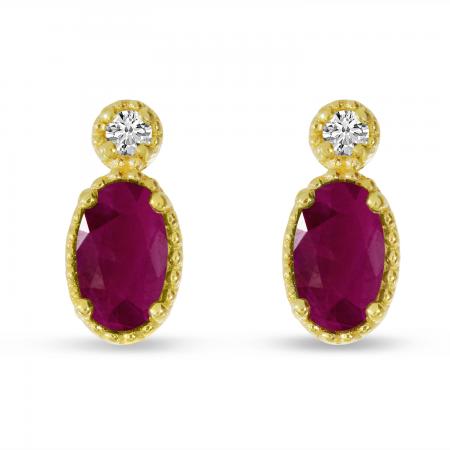 14K Yellow Gold Oval Ruby Millgrain Birthstone Earrings
