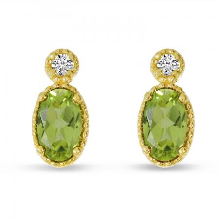 14K Yellow Gold Oval Peridot Millgrain Birthstone Earrings