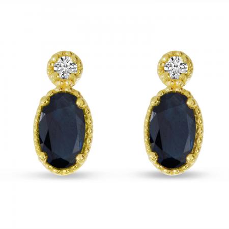14K Yellow Gold Oval Sapphire Millgrain Birthstone Earrings
