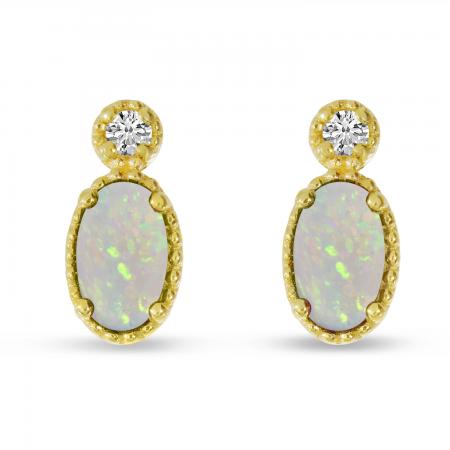 14K Yellow Gold Oval Opal Millgrain Birthstone Earrings
