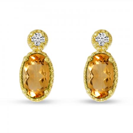 14K Yellow Gold Oval Citrine Millgrain Birthstone Earrings