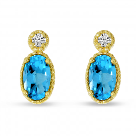 14K Yellow Gold Oval Blue Topaz Millgrain Birthstone Earrings