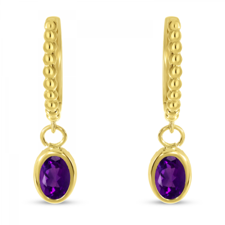 14K Yellow Gold Oval Amethyst Dangle Birthstone Textured Huggie Earrings