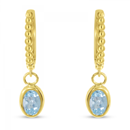 14K Yellow Gold Oval Aquamarine Dangle Birthstone Textured Huggie Earrings