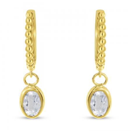 14K Yellow Gold Oval White Topaz Dangle Birthstone Textured Huggie Earrings