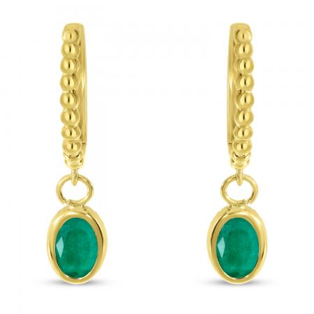 14K Yellow Gold Oval Emerald Dangle Birthstone Textured Huggie Earrings