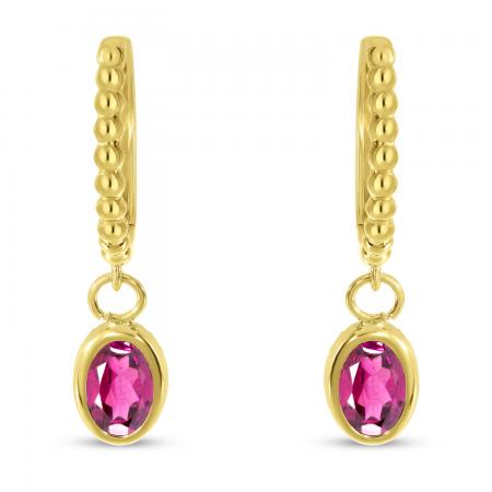 14K Yellow Gold Oval Pink Topaz Dangle Birthstone Textured Huggie Earrings