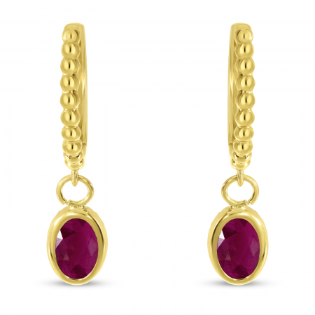 14K Yellow Gold Oval Ruby Dangle Birthstone Textured Huggie Earrings