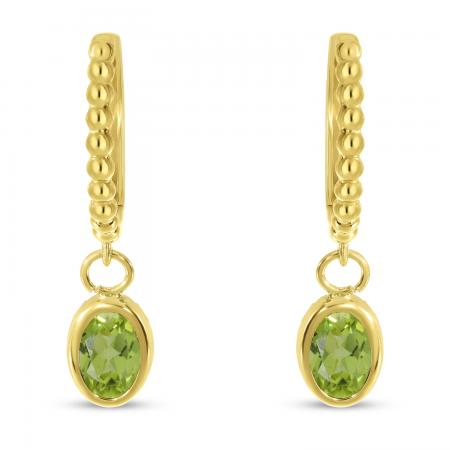 14K Yellow Gold Oval Peridot Dangle Birthstone Textured Huggie Earrings
