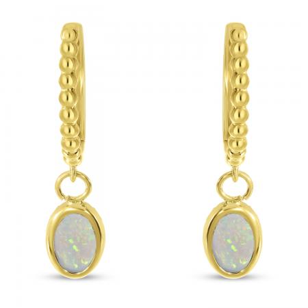 14K Yellow Gold Oval Opal Dangle Birthstone Textured Huggie Earrings